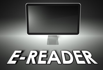 Computer blank screen with word E-reader