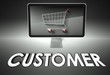 Computer and shopping cart with Customer, E-commerce