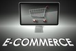 Computer and shopping cart with E-commerce, Business