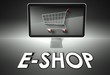 Computer and shopping cart with E-shop, E-commerce