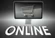Computer and shopping cart with Online, E-commerce