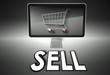 Computer and shopping cart with Sell, E-commerce