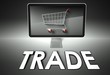 Computer and shopping cart with Trade, E-commerce