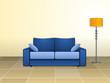 Sofá azul y lámpara de pie