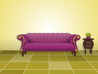 Sofá clásico y mesita
