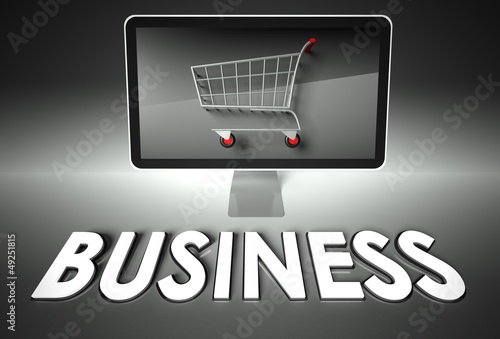 Computer and shopping cart with Business, E-commerce