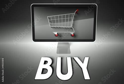 Computer and shopping cart with Buy, E-commerce