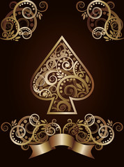Spade ace poker playing cards, vector illustration