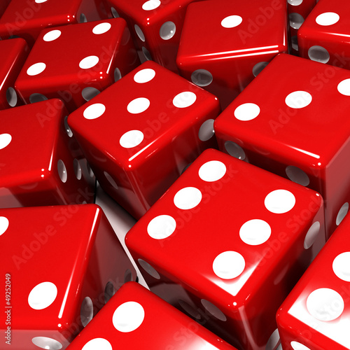 Lots of red dice close up