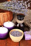Lavender flowers and jar