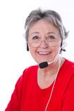 Portrait - ältere Frau mit Headset isoliert