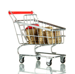 shopping trolley with Ukrainian coins, isolated on white