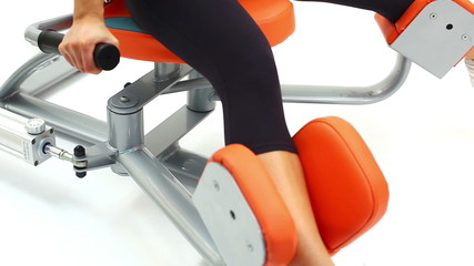 Closeup of woman on isodynamic exerciser