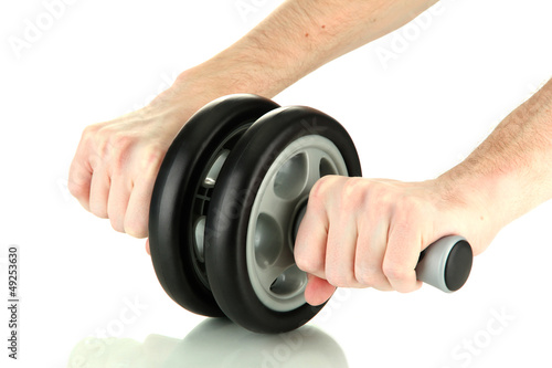 Man hands with sport equipment, isolated on white