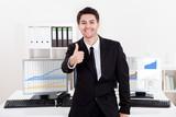 Confident smiling stock broker poster