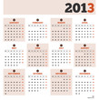 Calendar template for the year 2013