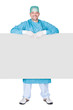 Doctor In Operation Gown Holding Blank Placard