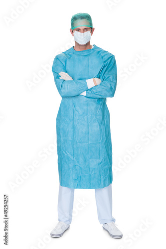 Male surgeon in scrubs uniform