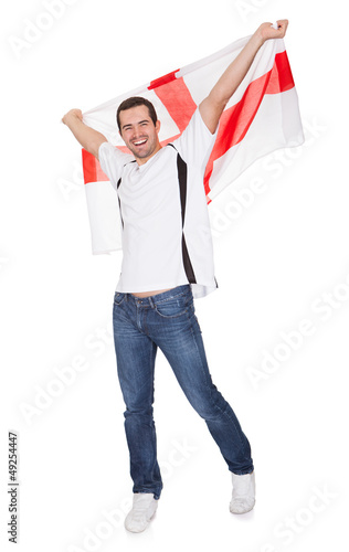 Portrait Of A Happy Man Holding An English Flag