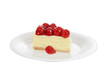 Isolated slice cherry cheesecake