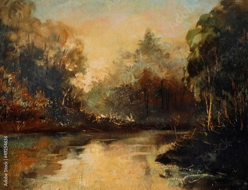 morning on the river,  landscape a water colour,  illustration