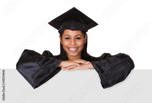 Graduate Woman Holding Placard