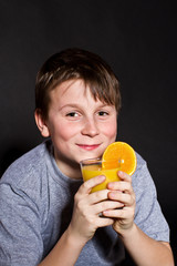 boy with orange juice