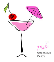 Pink cocktail party. Alcohol in glass with cherry decor. Eps10