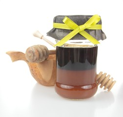 buckwheat honey with yellow ribbon
