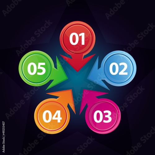 Vector template with five design elements