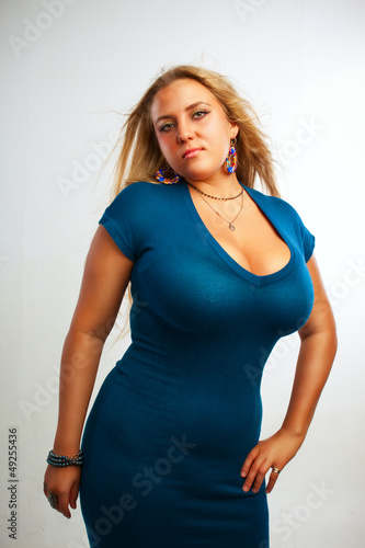 Seductive lady in blue