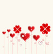 Love flower background with hearts valentine day card
