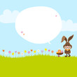 Bunny Pushing Wheelbarrow Easter Eggs Speech Bubble