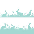 Easter Background Header Meadow Bunny Retro