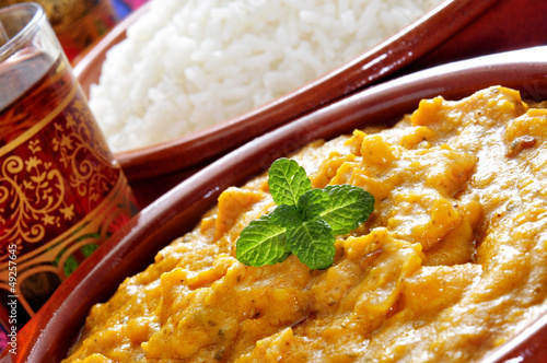 korma curry and basmati rice