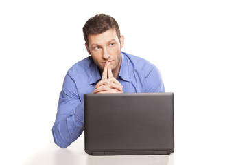Attractive conceited businessman With Laptop, On White