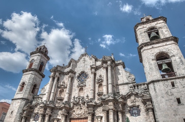 Plaza Vieja with church, Havana ,Cuba, December 26 2012