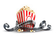 paper bag with popcorn and movie reel vector illustration