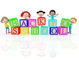 3D happy kids going back to school