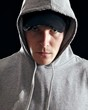 Man Wearing Hooded Sweatshirt