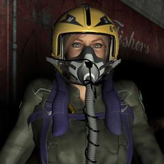 Pilot mit Maske und Helm
