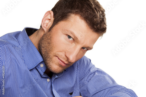 portrait of a handsome young man on white background