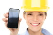 Engineer woman showing smart phone