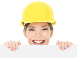 Construction worker / engineer woman showing sign