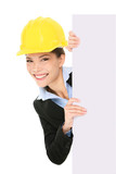 Engineer entrepreneur business woman showing sign