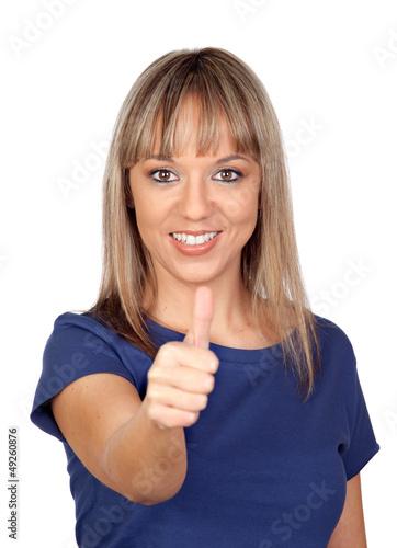 Pretty blond girl saying OK