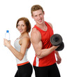 Athletic woman and man with a dumbells. isolated on white