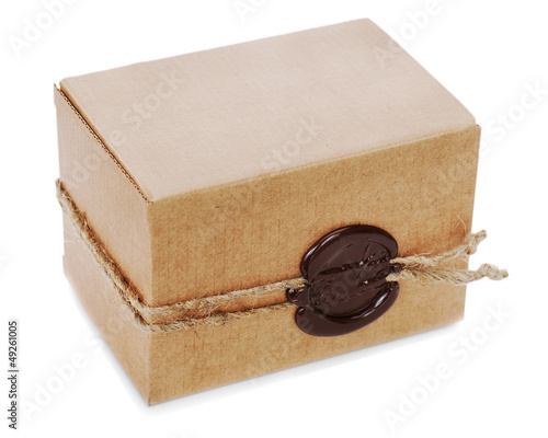 cardboard box with stamp isolated on white background