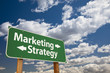 Marketing, Strategy Green Road Sign Over Clouds