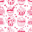 seamless doodle cake pattern